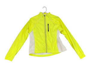 Cannondale Womens Size M Full Zip Long Sleeve Volt Yellow Cycling Jacket Pockets