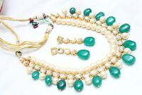 Indian Bollywood Ethnic Green Pearl Kundan Necklace Earring Set Jewelry Diwali