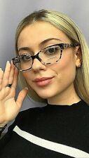New Versace Gray Havana 54mm Cats Eye Women's Eyeglasses Frame Italy