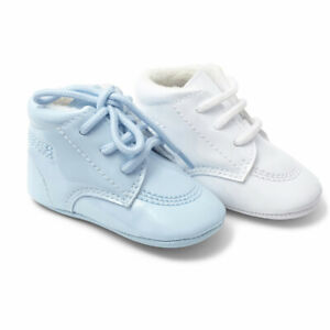 Baby boys spanish lace up patent blue or white pram shoes / booties