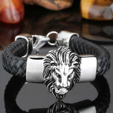 Cool Men Silver Stainless Steel Lion Black Braided Leather Bracelet Jewelry 8.66