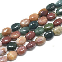 49~50pc/Strd Oval Natural Indian Agate Beads Smooth Gems Loose Spacer Bead 8x6mm