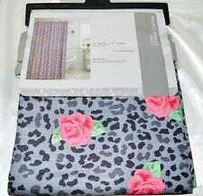 "Pink Roses Grey Leopard Fabric Shower Curtain Textured Animal Print 70x72""Geneva"