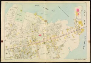 1907 QUINCY PT. BRIDGE NORFOLK COUNTY MASSACHUSETTS WASHINGTON SCHOOL ATLAS MAP