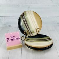 Home Trends JAZZ Textured Green Brown Stripes Stoneware Salad Plates Set of Four