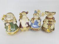 "4 Set glazed pottery 4"" Figurine Mix Snowman Santa Moose Bear Country Christmas"