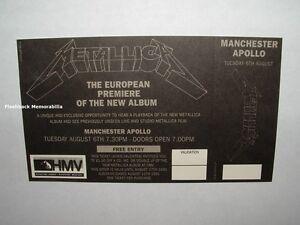 METALLICA 1991 European Premiere Ticket BLACK ALBUM Listening Party APOLLO U.K.