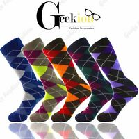 3 6 9 12 Pairs Men Colorful Funky Argyle Diamond Casual Cotton Dress Socks 10-13