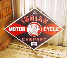 "Indian Motorcycle Chief Embossed 17"" Metal Tin Sign Vintage Rustic Garage Dealer"