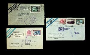 ARGENTINA 1950-52 SET OF 3 AIRMAIL COVERS W/ 6v GEN JOSE MARTIN TO PARIS FRANCE