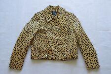 Alexander McQueen MCQ Cow Hair Leather Leopard Print Zip Biker Jacket Coat IT40