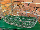 Antique Primitive Farmhouse Barn Wire Egg Clam Gathering Basket w  Wood Handle