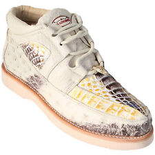 Men's Los Altos Genuine Caiman With Ostrich Casual Sneaker Lace Up Exotic Shoes