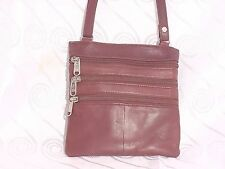 SOFT LEATHER SLIM CROSS BODY BAG WITH 3 FRONT ZIPPERS # BROWN