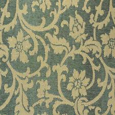 Drapery Upholstery Fabric Chenille Floral Leaf Vine Design - Golden Tan on Green