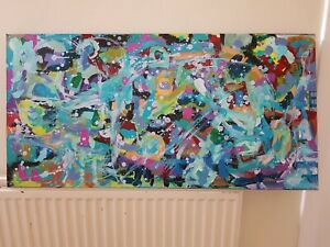 Large Original Painting Abstract Panoramic Canvas Bold Modern Art - L ALLEN