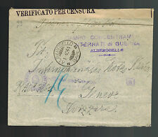1941 Alberobello Italy Concentration Camp Cover to Red Cross Switzerland