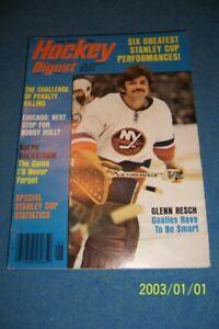 1977 Hockey Digest NEW YORK Islanders GLENN RESCH No Label NEWSSTAND Stanley Cup