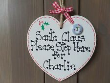 Christmas Santa Please Stop Here Sign Heart Tree Personalised Decoration Plaque