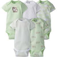 5-Pack Neutral Mint Green Bear Onesies Brand Short Sleeve Bodysuits, 0-3 Months