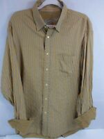 Bugatchi Uomo Mens XL Long Sleeve Button-Front Blue Striped Flip Cuff Shirt