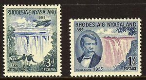 RHODESIA & NYASALAND QE II 1955 Victoria Falls Centenary Set SG 16 & 17 MINT