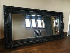 LARGE MATT BLACK ORNATE LARGE FRENCH BOUDOIR WOOD LEANER DRESS MIRROR 7FT x 4FT