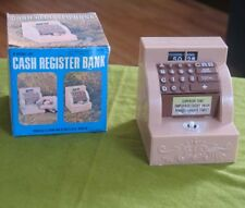 1970s JSNY Cash Register Mechanical Windup Coin Bank in Box Hong Kong