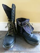 Dr Martens Folding Fold Over Floral Hazil? Boots 7 navy leather WORN ONCE RARE