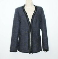 Women's Navy Blue Knitted FASCINATE Hook & Eye Studs Cardigan Blazer Size 14 /42