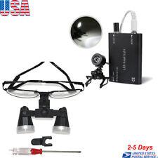 Dental Surgical Medical Binocular Loupes Optical Glass Loupe + Head Light Lamp