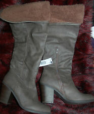 New Sz 5 Chocolate Brown/grey Faux leather Heels Boots with turn down Fur Cuff