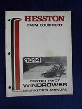 Vintage Hesston Farm Equipment Operator's Manual 1014 Center Pivot Windrower