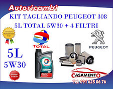 KIT TAGLIANDO 5L TOTAL 5W30 + FILTRI PEUGEOT 308 1.6 HDI 16V 68KW DAL 03/2010-->