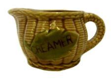 Creamer Pitcher Japan Basket Weave Green Leaf Brown Handled Vintage