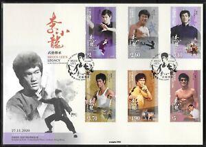 Hong Kong, China 2020 Bruce Lee's Legacy Stamp FDC Film Star 李小龍