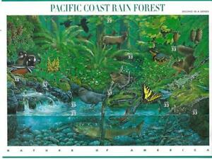 US SCOTT 3378 PANE OF 10 PACIFIC COAST RAIN FOREST (33) FACE MNH 2ND IN SERIES