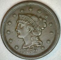 1852 Braided Hair Liberty Head Large Cent US Copper Type One Cent Coin XF K35
