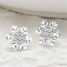 Elegant Stud Earrings Star Snowflake Rhinestone Crystal Christmas Party Jewelry