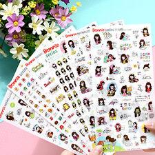 6 sheet Bonnie brunette girl decoration diary album notebook transprent sticker