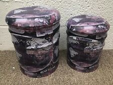 More details for set of 2 old world map drum stool with padded seat retro