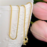 Fashion Hot Gold Plated Necklace Box Chain Necklace 20inches Woman Jewelry 1mm