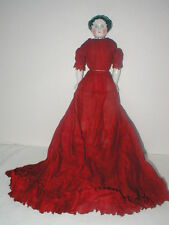 """12"""" Germany flat top china head in orig dark red cotton dress & cotton slip"""