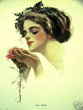 Harrison Fisher Girl THE ROSE 1912 Antique Print Matted