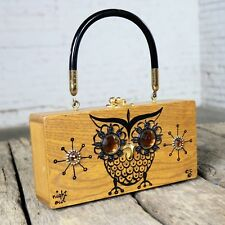 Enid Collins Original Night Owl Wood Box Bag by Collins of Texas Vintage
