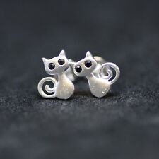 Small Kitten Kitty Cat Earrings in 925 Sterling Silver, Small Stud , From Canada