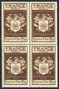 France B190 block/4,MNH.Michel 672.Stamp Day 1944.Coat of Arms of de Villayer.