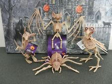 """LOT Of (4)  7 1/4"""" Crow, Rat, Bat &  Spider Skeleton's With Wiggle Eyes Head"""