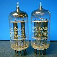 Sylvania JHS 12AU7 matched tube pair, long black plates, square getter, 1964