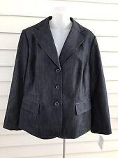 Women's Blazer Size 14 W Nine West Blue 3 Buttons Lined Casual Pockets Cotton